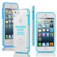 Apple iPhone 5c Ultra Thin Transparent Clear Hard TPU Case Cover Volleyball Is Life (Light Blue)