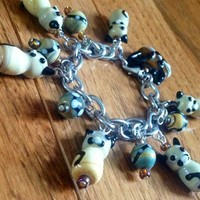 Siamese Persian Sitting Pretty Kitty Lampwork Glass Charm Bracelet