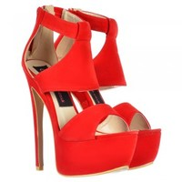 Onlineshoe Suede Peep Toe High Heel Party Stiletto - Black, Red, Nude - Onlineshoe from Onlineshoe UK