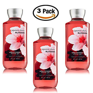Japanese Cherry Blossom Shower Gel Body Wash - Set of THREE (3) bottles (10 oz ea) -- Bath & Body Works Signature Collection