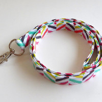 Chevron Lanyard / Geometric / Boho Keychain / Colorful Lanyard / Bohemian / Key Lanyard / ID Badge Holder / Teal / Chartruese