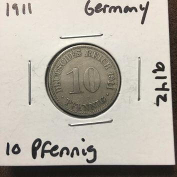1911 German Empire 10 Pfennig Coin 9142