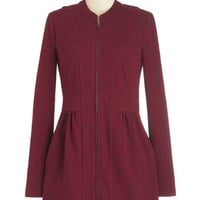 ModCloth Long Long Sleeve Lay of the Landmark Jacket in Scarlet