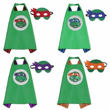 70*70cm/Teenage Mutant Ninja Turtles Kids Superhero Cape & Mask Halloween Costume Cosplay Party Supplies Children's Gift