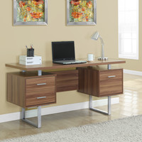 "Walnut Hollow-Core/Silver Metal 60""L Office Desk"