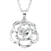 Sterling Silver Diamond-Accent Open Flower Pendant Necklace