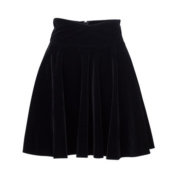Black Velvet High Waist Skater Skirt