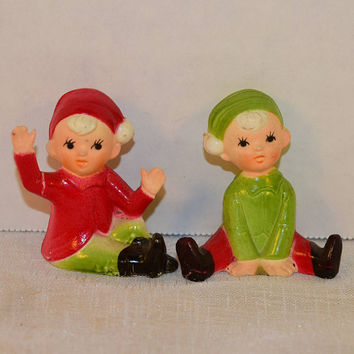 CIJ Sale Miniature Red & Green Elves Figurines Vintage Christmas Decorations Pixie Elf Holiday Crafts Plastic Made in Hong Kong Holiday Deco