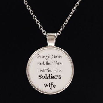 I Married My Hero Love My Soldier Wife Army Military Gift Necklace