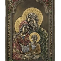 A Holy Family Veronese wall plaque lightly hand-painted in cold cast bronze, 6x9inches.