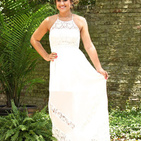 Walk On The Beach Maxi Dress-White Lace