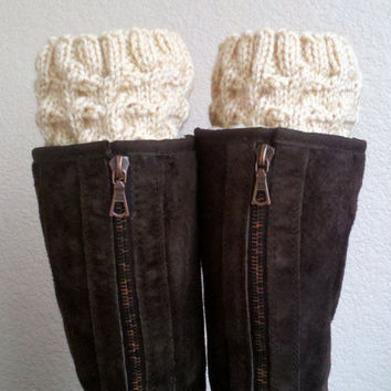 Boot cuffs  / Boot socks / Short Cable Leg warmers by PPanquecitos