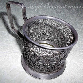 Vintage Soviet Russian Tea Glass Holder Mstera Filigree Skan 1950s Brass Melchior  Metal Antique USSR Collectible
