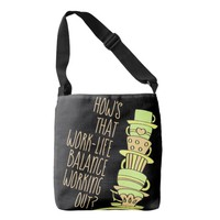 Whimsical Leaning Stack of Pastel Coffee Cups Crossbody Bag