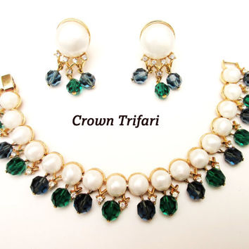 Crown Trifari link Bracelet and Earring set Pearl Rhinestone and green and blue crystalbead