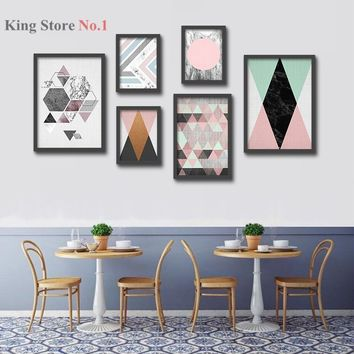 Nordic Abstract Geometry Painting Wall Hanging Art Print Watercolor Paper Fine Art Paper Wall Decor (NO Frame)