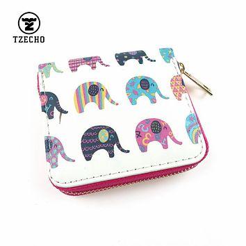TZECHO Zipper Around Womens Wallets Leather Print Elephant Girls Short Money Purses Mini Coin Pocket Small Card Holder Bag