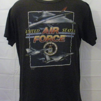 Vintage Burnout 1991 AIR FORCE 3d EMBLEM Graphic Paper Thin Plane Military Medium Large Buttery Soft 50/50 T-Shirt