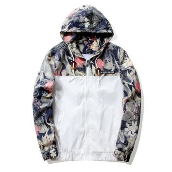Men's Flower Design Bomber Jacket