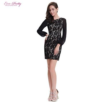 Cocktail Dresses Ever Pretty AP05286BK New Arrive Long Sleeve Little Black Summer Women Cocktail Dress
