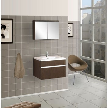 Wall-Mounted Bathroom Vanity with Porcelain Top and Medicine Cabinet