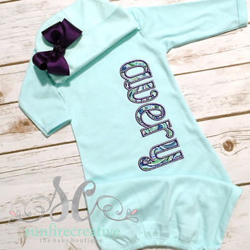 Baby Girl Coming Home Outfit Purple Mint with Bow Beanie