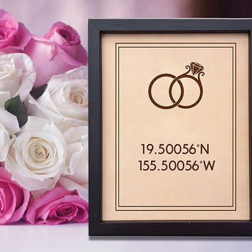 Lik10 Leather Engraved Wedding Third Anniversary latitude longitude coordinates wedding venue wedding rings