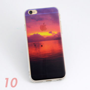 Beautiful Ocean Dawn Sunrise Scenery Print Soft TPU Transparent Phone Back Case Cover Shell For iPhone 5 5S 6 6s 6 Plus 6s Plus 7
