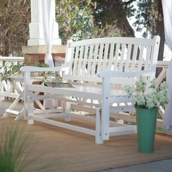 4-Ft Outdoor Patio Garden Glider Bench Loveseat in White Wood
