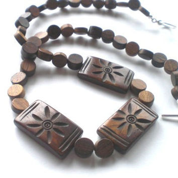 Natural Wood and Flower Carved Bone Beaded Necklace