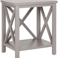 Candence Cross Back End Table Quartz Grey