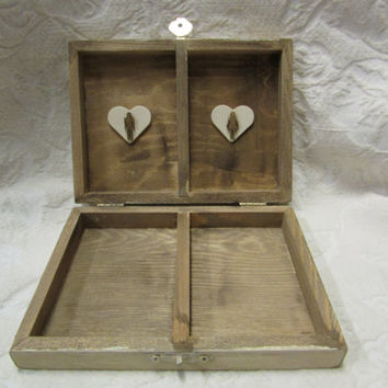 Rustic Stained Aged His Hers Divided Wedding Ring Bearers Box Heart Love Bird