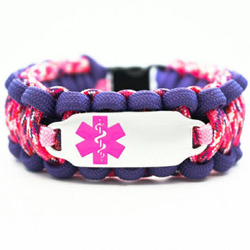 Custom 550 Paracord Bracelet Medical ID - Personalized Engraved Pink Stainless Steel Medical ID Bracelet Includes FREE Engraving