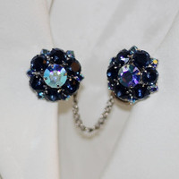 Deep Royal Navy Blue Aurora Clip on Earrings by SalvatoCollection