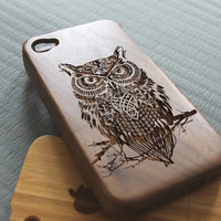 Walnut wood iphone 4 case iphone 4s case owl warrior iphone 4 case