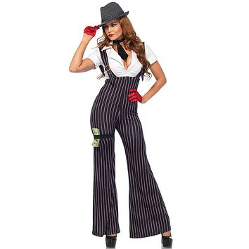 Mob Wife Black White Pinstripe Pattern Short Sleeve Plunge V Neck Suspender Flare Leg Jumpsuit Halloween Costume