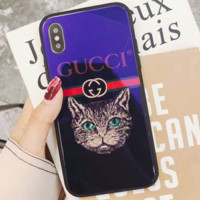 GUCCI 2018 new cat iphoneX blue glass shell couple phone case Blue