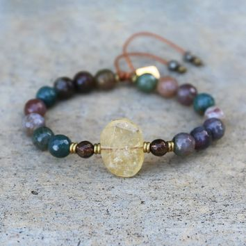 Fancy Jasper and Citrine Adjustable Bracelet