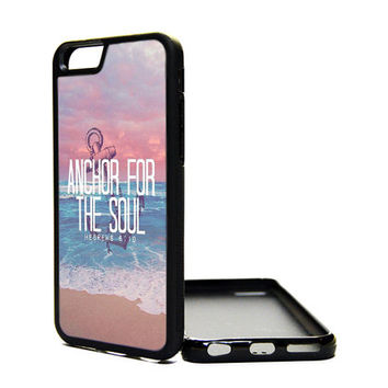 Apple iPhone 6 6 PLUS 5C 5S 4S Generation Fitted Rubber Silicone TPU Phone Case Cover Hebrews 6:19 Religious Quote Anchor Soul