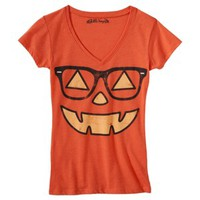 Juniors Halloween Pumpkin Graphic Tee - Orange