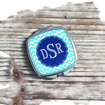 monogrammed compact mirror, personalized compact, bridesmaid gift, stocking stuffer, monogrammed gift, pocket mirror, small mirror, holiday