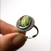 "Snakeskin Mosaic Glass Ring Vintage ""Thousand Eyes"" Cabochon Adjustable Silver Tone Band"