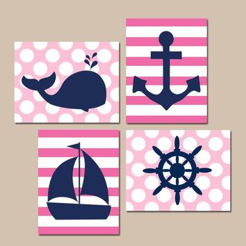 GIRL NAUTICAL Wall Art, Nautical BATHROOM Decor, Navy Pink Baby Girl Nursery Decor, Whale Sailboat Anchor Wheel, Set of 4, Canvas or Prints