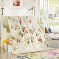 100% cotton showy peony white summer quilt 150*200cm 200*230cm quilted Quilt thin bedding  Blanket/ Plaids