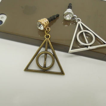 Gift for Him 1PC Retro Harry Potter Deathly Hallows Cell Phone Earphone Stopper Antidust Plug Charm for iPhone  4s,5,5c,5s,Samsung,HTC,Nokia