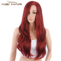 Synthetic Long Wavy Red Hair Wigs