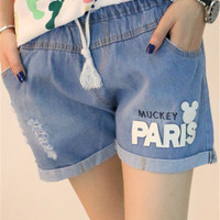 Muckey Paris Distressed Drawstring Denim Shorts
