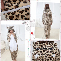 Free Shipping Leopard Print Bear Adult Unisex Cosplay Costume Flannel Pajamas Animal Onesuits Size S M L XL Ex-factory Price