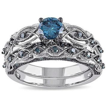Oceanika Sapphire Crystal Filigree Ring With Band