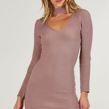 All Good Ribbed Choker Neck Dress